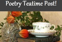 Poetry: Teatime / homeschool poetry teatime.  Poetry book ideas, tea, snacks for teatime, teapots, recipes, table settings