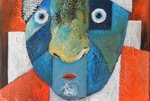 Masks - painting by Miroslaw Hajnos