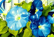 Learning to paint morning glories / by Shelia Arnold
