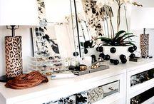Stylish black and white mirrored furniture