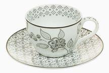 Tasse avec sous-tasse Porcelaine Imprimé