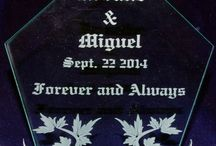 Wedding Cake Toppers / Custom created and engraved wedding cake toppers