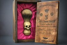 Skull Shaving brush - Hand made finest bardge Shave Brush with elegant box / Have you ever seen a shaving brush like this? It's made entirely by hand using synthetic ivory and precious high quality finest badger hair. The precious and elegant wooden box is included and makes it a great gift idea