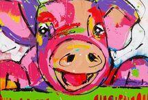 varkens  schilderen