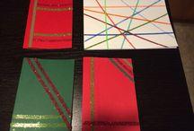 kort i karton / dobbelt klæbende tape og farvet sand og glimmer