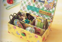 sewing box and needle cases