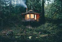 Grange hut in garden