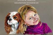 Portraits aux pastels de chiens / Peintures animalières, portraits de chiens réalisés aux pastels secs www.artanimalier-annickabrial.com