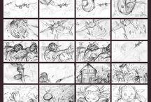 Hand-drawn storyboards.