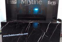 หินอ่อนแบล็คเมอร์คิวน่า (Black Marquina) สีดำ งานเคาเตอร์ สนง.ใหญ่เครื่องสำอาง มิสทีน / หินอ่อนแบล็คเมอร์คิวน่า (Black Marquina) สีดำ ลายเส้นตัดสีขาว สำหรับงานเคาเตอร์ประชาสัมพันธ์ สนง.ใหญ่เครื่องสำอาง มิสทีน Tel: 081-876-2527