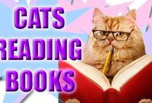 Cats Really Love Reading Mysteries / A collection of images of cats enjoying books.