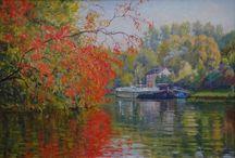 Automne peintures de la Seine - peintures de Michèle Ratel