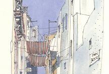 pen / potlood / inkt kleur stadsgezicht