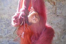 lanas teñidas