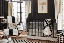 black white gold nursery