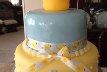 Baby's first birthday / Fondant cake with yellow cake and fresh strawberry filling