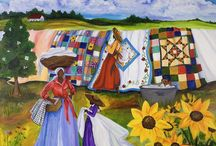 quilts are everywhere / They are on: paintings, illustrations, drawings, collages, photos, bags, buildings... Or paintings, illustrations, drawings, collages, photos, bags or buildings are quilty. And good for quilt inspiration:)