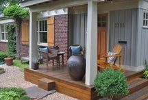 Modular Home Curb Appeal Inspiration / Porches, porticos, arbors, trellises, pergolas, front doors, etc. to create cottage curb appeal to a plain ranch style modular (or double wide) home.
