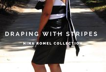 Stripes & Leather / Draped halter top and leather skirt