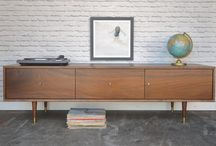 Our work - TV/media stands and credenzas with drawers / Solid wood pieces with plenty of space for all your media and entertainment units. We make handcrafted pieces influenced by Danish Modern style, but also heavily inspired by the vintage, minimalist aesthetic of downtown New York and Brooklyn. Made with love in NYC.