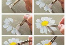 Ahşap üzerine çiçek boyama