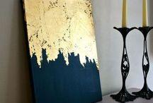 μοντερνα τεχνη με φυλλο χρυσου