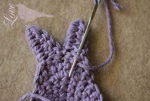 blanket with crochet rabbits