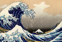 Hokusai e suas pinturas da série: Trinta e Seis Vistas do Monte Fuji