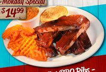 """Daily Food Specials / Each day of the week, Flat Creek Bar & Grill offers some incredible """"All You Can Eat"""" dishes. From bbq ribs to catfish, crab legs to fried broasted chicken, you'll find something you will love. We guarantee it!"""