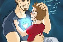 Iron man x captain America x child Spiderman