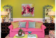 Salotti & soggiorni colorati ☏ / Stanze colorate in cui condividere la giovialità dei pasti e il tempo libero con amici e parenti