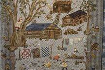 Family out in the woods appliqué quilt