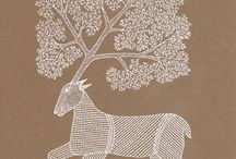 Gond Art / The Gonds are among the largest tribes in Central India, numbering about 4 million. Though predominantly centered in Madhya Pradesh. The Gonds paint their walls with vibrant depictions of local flora, fauna and gods such as Marahi Devi and Phulvari Devi (Goddess Kali). Gond painting depicts various celebrations, rituals and man's relationship with nature. The artists use natural colors derived from charcoal, colored soil, plant sap, leaves, and cow dung.