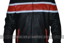 Red White Striped Biker Leather Jacket / Get this Biker Red and White Stripes Motorcycle Leather Jacket at most affordable price from Sky-Seller and avail free Shipping.