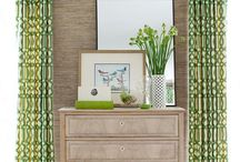 west palm  / Banana leaves, grasscloth, bamboo, caning and gold-accented furniture...