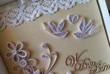 wedding card # quilling / ślubne inspiracje, kartki quilling