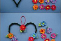 Crochet flowers on heart shape