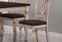 Dining room chairs / Distressed. Fabric seat