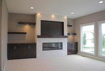Basement fireplace with storage