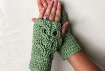 crochet hats, scarves, mittens