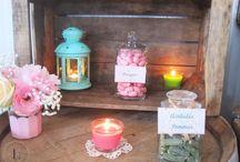 Candy Bar Vintage Peach Mint & Pink (Pêche, vert et rose) / Candy Bar vintage by Label' Emotion Côte d' Azur Sweet table Bar à bonbons vintage Caisse en bois