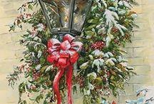 Vánoce retro pohled - Vintage Christmas card