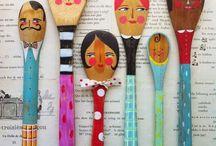 κουταλες ξυλινες ζωγραφιστες