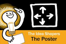 The Idea Shapers: The Poster / In her 2016 book The Idea Shapers, Brandy Agerbeck makes visual thinking attainable and enjoyable through a set of 24 Idea Shapers. The Poster is the first visual thinking concept in the fourth step, SCALE.