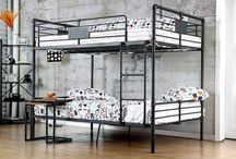 Pipe-Like Metal Bunk Beds / Visible piping framework is finished in antiqued black finish creating an authentic throwback look.