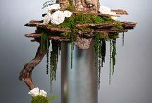 met hout bloemschikken