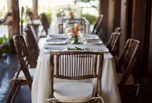 Wedding design / decorations, center pieces, linens and chairs.