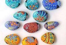 drawings on pebbles /