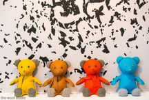 the wool studio Teddy pillows / 100% Woolfelt and handmade Teddy pillow.