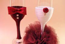 Svadobné poháre a ozdoby